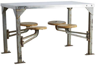 Rejuvenation Industrial Swing-Arm Mess Hall Table w/ Polished Top