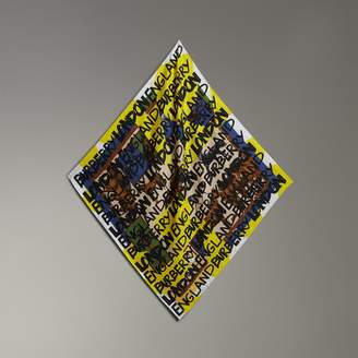 Burberry Graffiti Archive Scarf Print Silk Square Scarf, Yellow