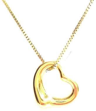 Tiffany & Co. 18K Yellow Gold Elsa Peretti Open Heart Pendant & Necklace