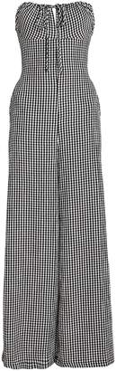 Solid & Striped Strapless Gingham Jumpsuit