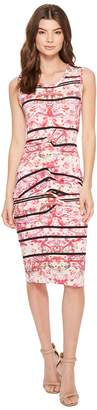 Nicole Miller Stamped Paisleys Mia Sleeveless Tidal Pleat Dress Women's Dress