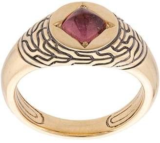 John Hardy Adwoa Aboah 18kt Yellow Gold and Tourmaline Classic Chain Pinky Signet Ring