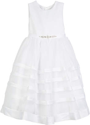 Joan Calabrese Solid Satin Dress w/ Tulle Striped Skirt, Size 5-14