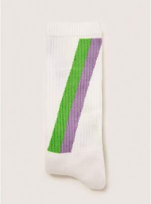 Topman Mens White Tube Sock With Lilac And Green Stripe