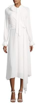 Zac Posen Long-Sleeve Tie-Neck Midi Dress