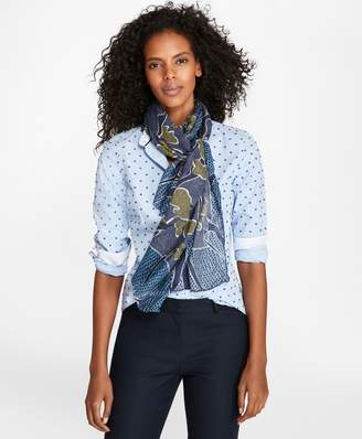 Brooks Brothers Abstract-Print Modal-Silk Oblong Scarf