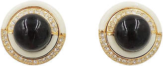One Kings Lane Vintage Ciner Faux-Onyx Cabochon Earrings - Carrie's Couture