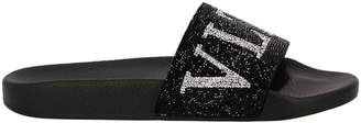 Valentino Flat Sandals Slide Sandals Rubber With Crystal Rock Band Logo