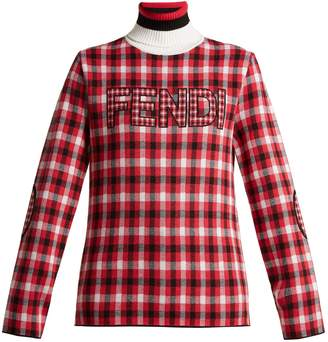 Fendi Checked logo virgin-wool roll-neck sweater