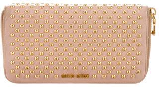 Miu MiuMiu Miu Studded Leather Wallet