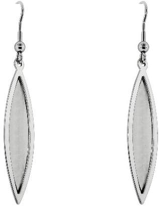 Women's Stainless Steel Polished and Laser Etched Marquise Dangle Earrings