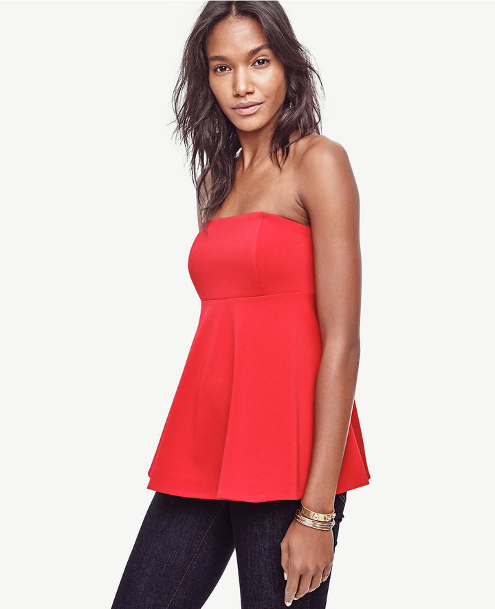 Ann Taylor Petite Strapless Flare Top