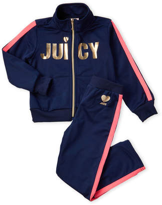 Juicy Couture Girls 4-6x) Two-Piece Navy Tricot Track Suit Set