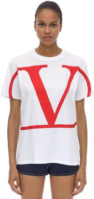 Valentino VLOGO PRINTED COTTON JERSEY T-SHIRT