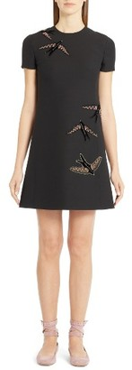 Women's Valentino Embroidered Swallow Wool & Silk Crepe Dress $3,450 thestylecure.com