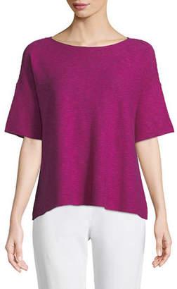 Eileen Fisher Cotton-Linen Slub Half-Sleeve Box Top, Petite