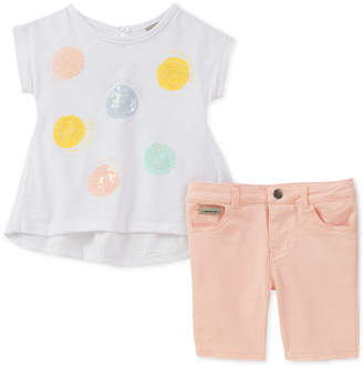 Calvin Klein Little Girls 2-Pc. Sequin T-Shirt & Denim Shorts Set