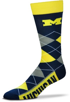 For Bare Feet Adult Michigan Wolverines Argyle Line Up Crew Socks