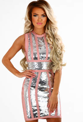 Pink Boutique Pink Lady Pink and Silver Sequin Bandage Mini Dress
