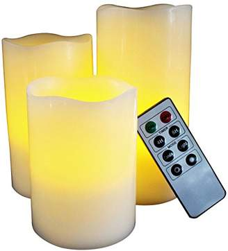 LED Lytes Flickering Flameless Candles - Set of 3 Round Ivory Wax With Flickering Amber Yellow Flame