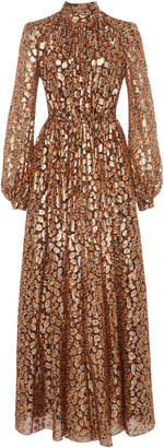 Giambattista Valli Floral Metallic Silk-Blend Maxi Dress