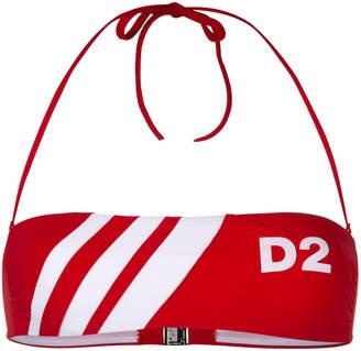 DSQUARED2 D2 striped bandeau bikini top