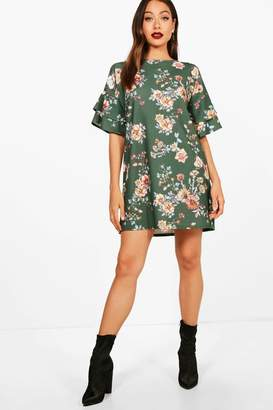 boohoo Keira Frill Sleeve Floral Printed Shift Dress