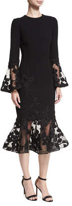 Rickie Freeman For Teri Jon Long-Sleeve Crepe Flounce-Lace Cocktail Dress