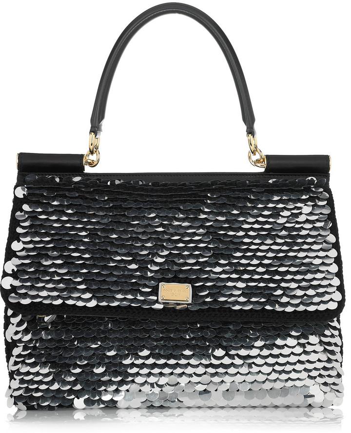 Dolce & Gabbana Metallic pailette-embellished knitted shoulder bag