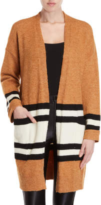 Lush Camel Striped Open Cardigan