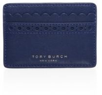 Tory Burch Tory Burch Block-T Brogue Leather Slim Card Case