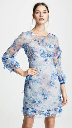 Marchesa Embroidered Cocktail with 3D Flowers