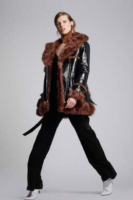 Yigal Azrouel Patent Leather Shearling Coat