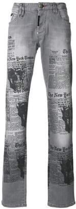 Philipp Plein newspaper print jeans