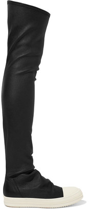 Rick Owens - Stretch-leather Over-the-knee Boots - Black $1,875 thestylecure.com