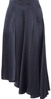Vince Asymmetric Polka-dot Silk-satin Midi Skirt