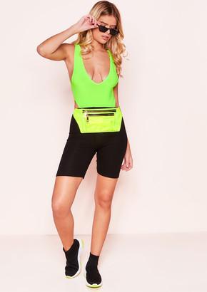 Missy Empire Maggie Neon Green Plunge Sleeveless Bodysuit