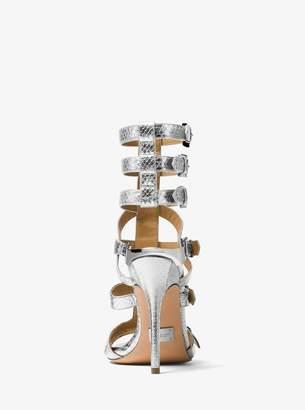 Michael Kors Ming Metallic Snakeskin Gladiator Sandal