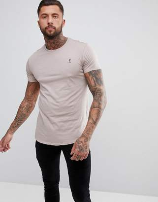 Religion longline t-shirt in ash pink