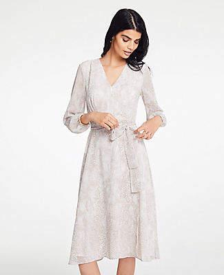 Ann Taylor Petite Snakeskin Print Wrap Dress