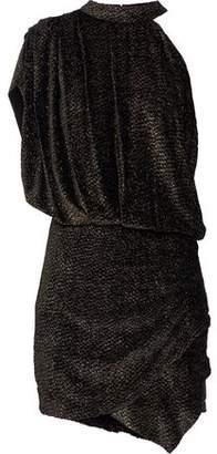 IRO Clem One-Shoulder Metallic Devoré-Chiffon Mini Dress