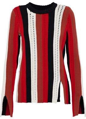 Derek Lam 10 Crosby Open Knit-Trimmed Striped Cotton-Blend Sweater