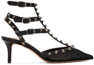 Valentino Black Garavani Mesh Rockstud Cage Heels