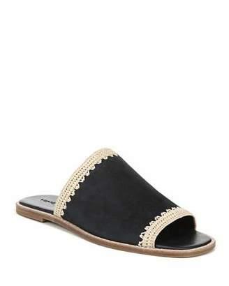Vince Padmore Raffia-Trim Suede Slide Sandals