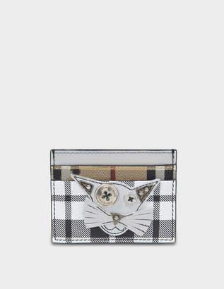 Burberry Sandon Card Case in Silver Grained Calfskin