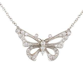 Tiffany & Co. Platinum Diamond Butterfly Pendant Necklace