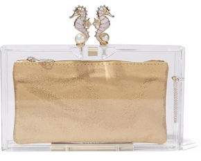Charlotte Olympia Seahorse Pandora Embellished Perspex Box Clutch