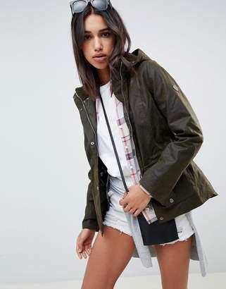 Barbour hunstanton wax jacket with hood and borg collar