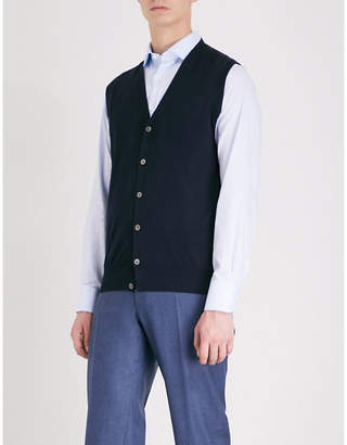 Canali V-neck wool knitted vest