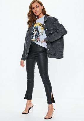 Missguided Premium Black High Waisted Coated Skinny Jeans